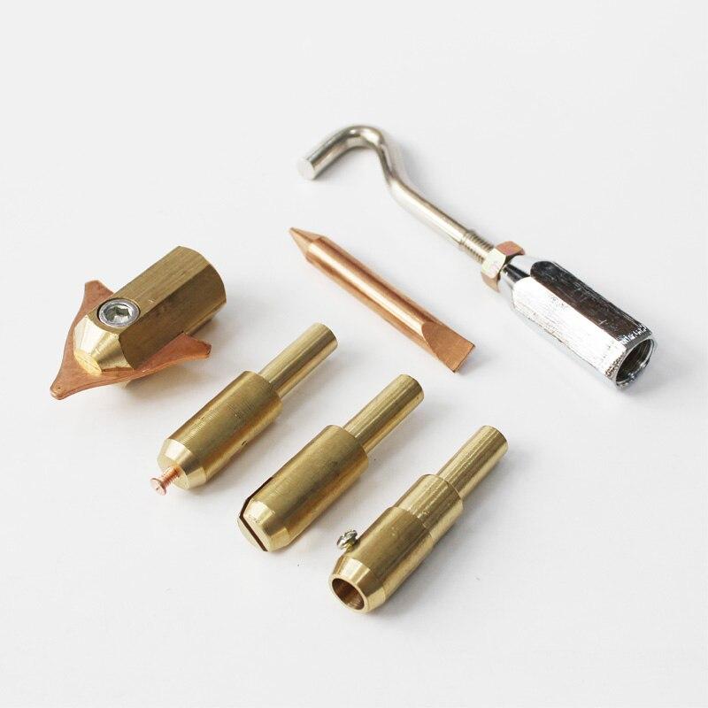 Paquet de 6 électrodes de cuivre mandrin triangle tampons de soudage support vague fil conseils tirant crochet goujons extracteur pour voiture outils de réparation