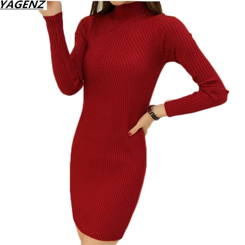 Pullover Women Shirt Clothing Long-Sweater Bottom Knit Autumn Winter New Slim Half-Height-Collar