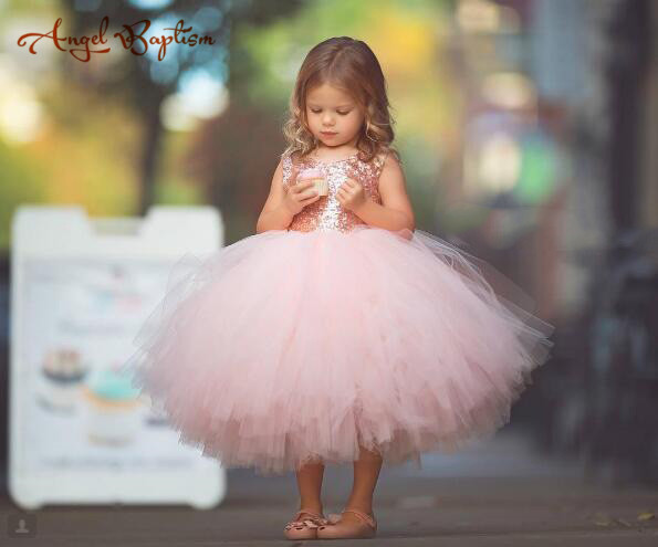 9873e9a0b79 loverly puffy tulle ruffles blush pink tea length flower girl dress bling  sequins gown for wedding occasion birthday prom party