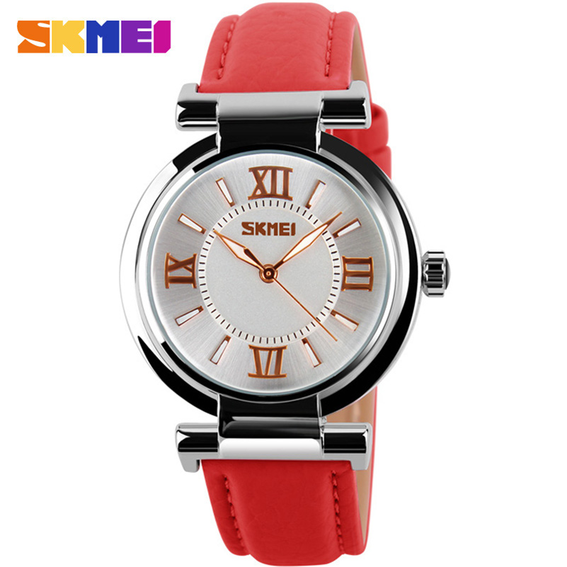 SKMEI fashion casual women quartz watches leather strap luxury brand ladies watches silver case 30M water