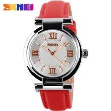 SKMEI moda casual mujer relojes correa de cuero de lujo de la marca ladies relojes de cuarzo silver case 30 M resistente al agua reloj mujer