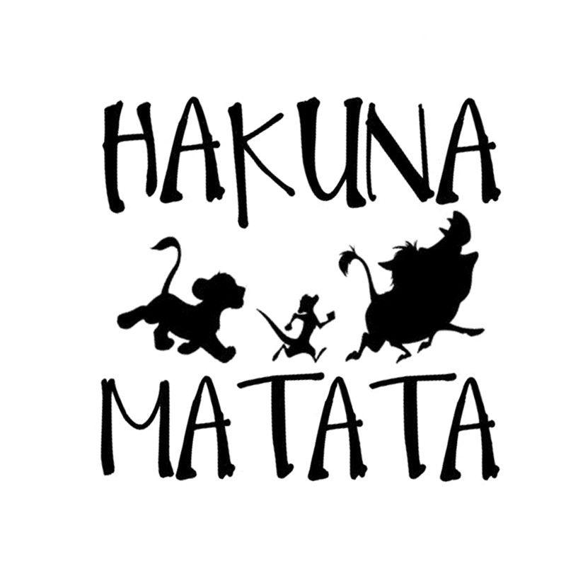 Funny Car Sticker 13.8*13.3cm HAKUNA MATATA Lion King Simba Car-Styling Vinyl Stickers Decal Motorcycle Body Sticker Decoration(China)