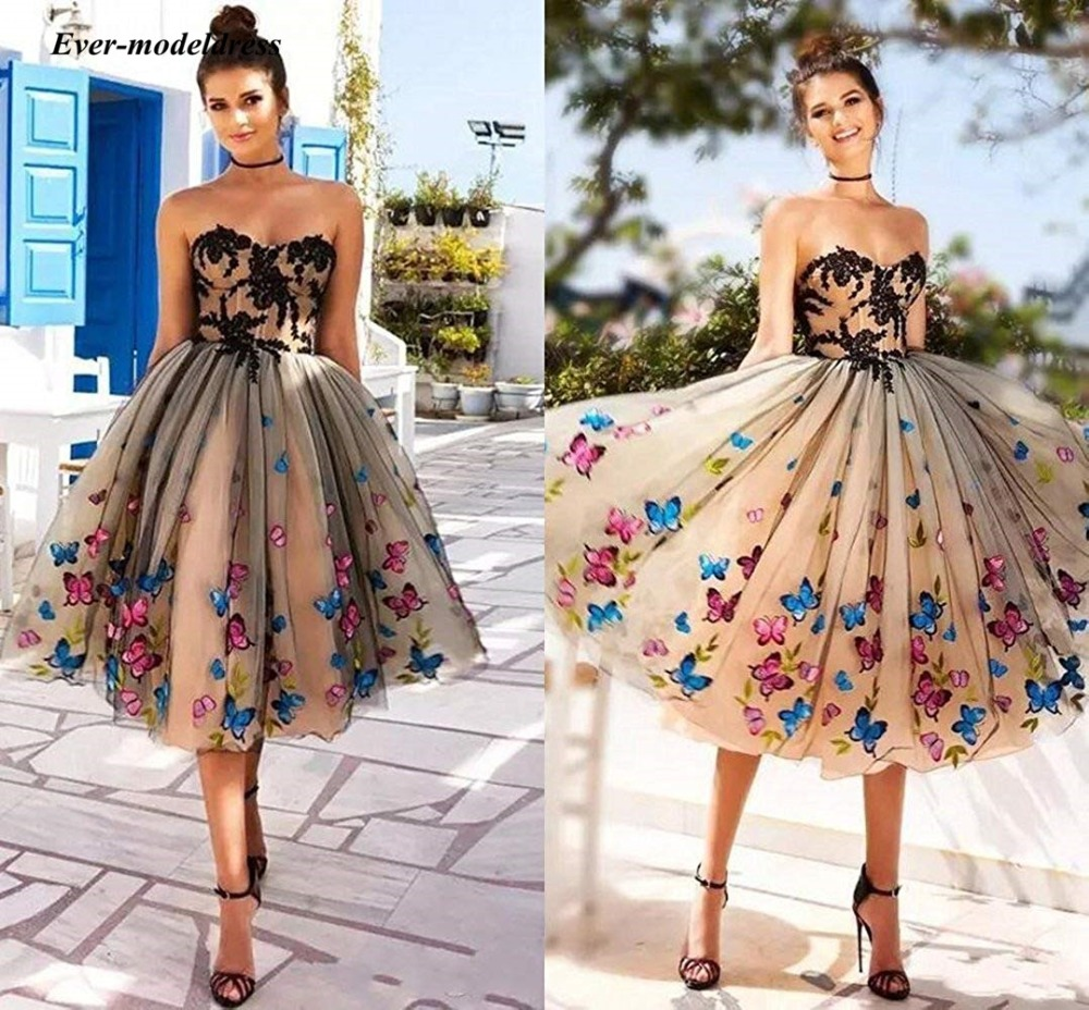 2019 Modest Short   Prom     Dresses   With Butterfly Appliques Sweetheart Below Knee Length A Line Evening Party Gowns Vestido fiesta