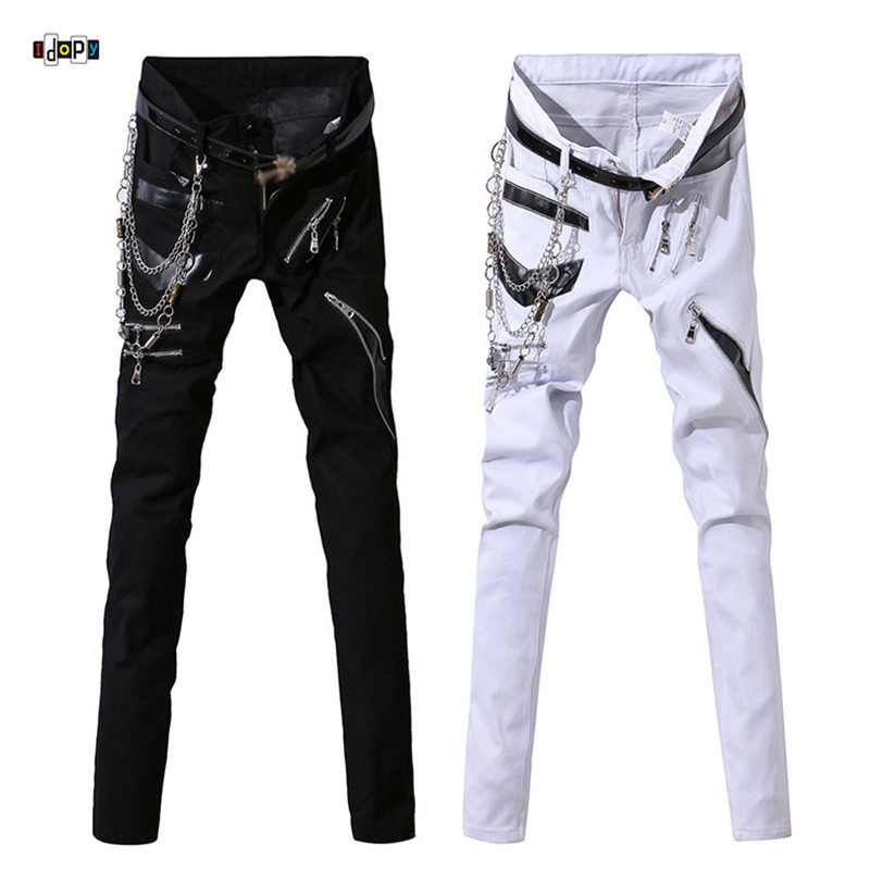 Idopy Men Hip Hop Jeans With Chain Patchwork Punk Gothic Party Stage Multi Zippers Leather Performance Pants For Man
