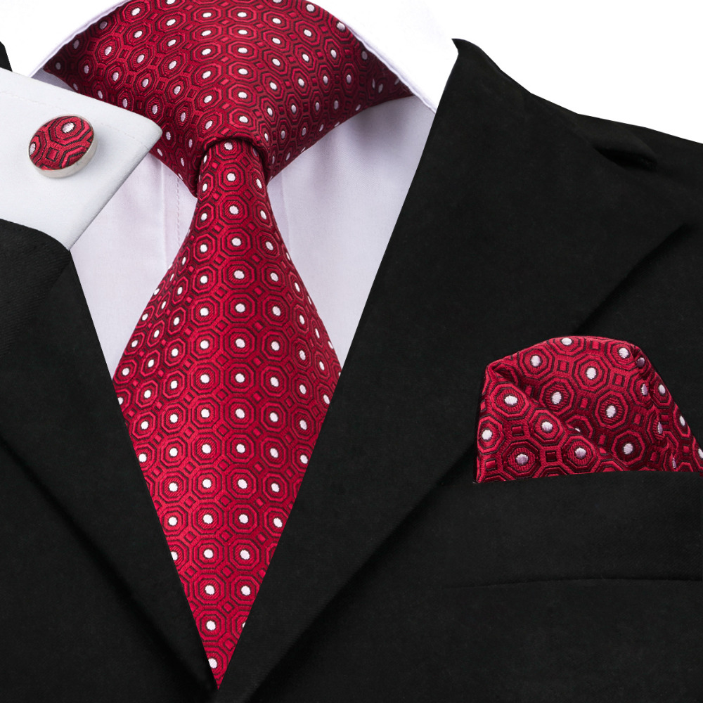 Mens Ties Red White Dot Tie Hanky Cufflinks Set 100% Silk Jacquard Ties For Men Business Wedding Party Gifts Men Tie SN-1018