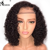NEMER Brazilian 360 Lace Frontal Human Hair Wigs Bleached Knots Short Bob 180 Density 360 Lace Wigs Natural Hairline Remy Hair