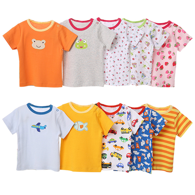 [5 Pcs/Lot Random Color] Baby T-Shirt 100%Cotton Cartoon Print Baby Girl Tops Summer Short Sleeve Toddler Boys Tshirt Clothes