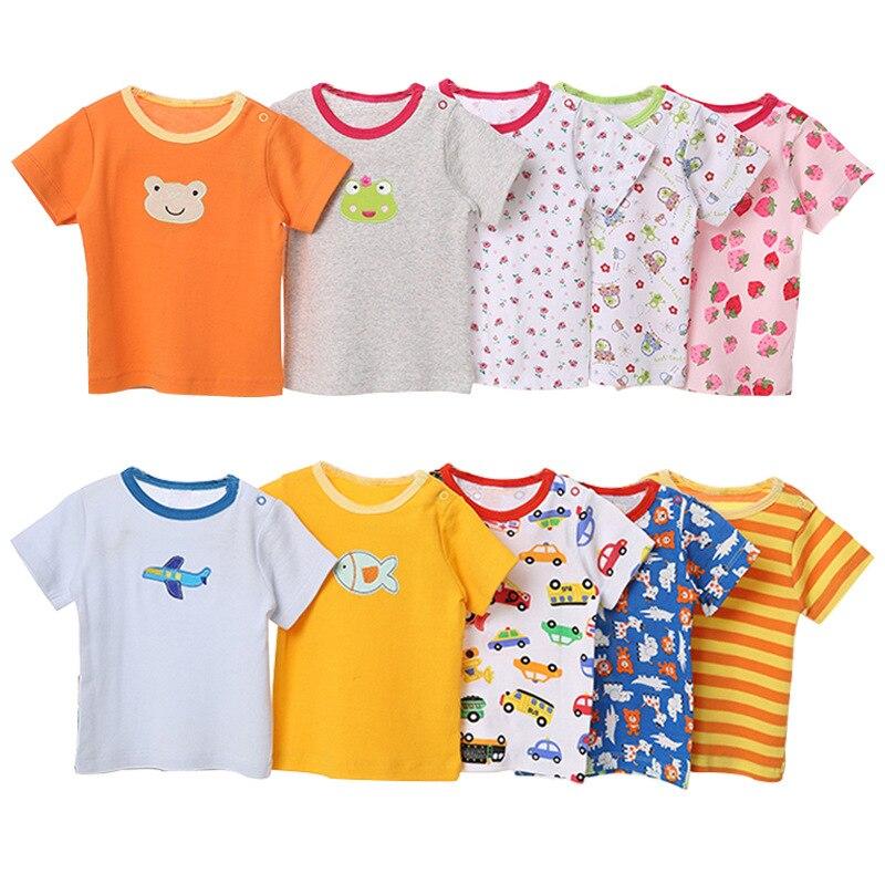 [5 Pcs/Lot Random Color] Baby T-Shirt 100%Cotton Cartoon Print Baby Girl Tops Summer Short Sleeve Toddler Boys Tshirt Clothes