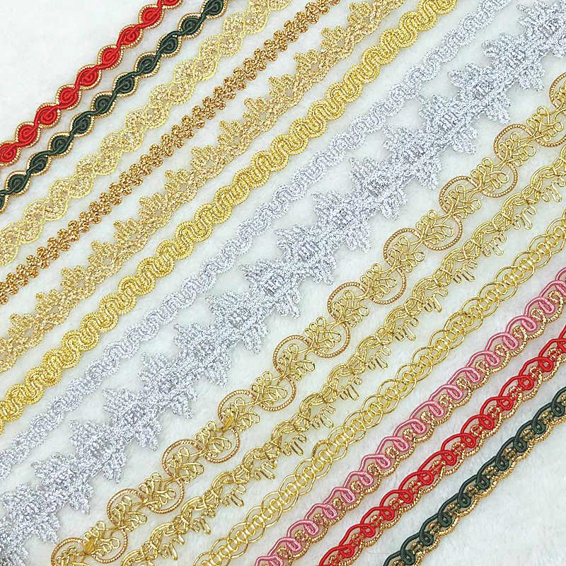 האחרון כסף זהב תחרה בד באיכות גבוהה סרט תחרת נצנצים תחרה חומר תפירת קישוטים לבגדים קישוט YU50