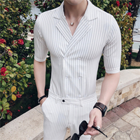 Double Breasted Shirts Mens Smart Stripe Shirts Mens White 2 Pcs Summer Set Mens Shirts With