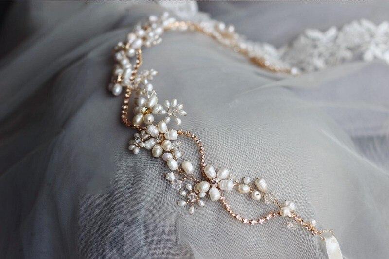 Stunning  Freshwater Pearls Headband Bridal Hair Vine Jewelry Gold Wedding Headwear Hair Accessories Rhinestone Women Headwear