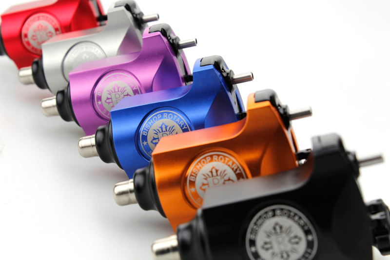 Newest 6 Color Bishop Tattoo Machine Rotary Tattoo Gun With RCA connection Tattoo Supplies Makeup Machine Free Shipping