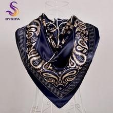 [BYSIFA] хиджаб шарф черный женский Шелковый квадратный шарф, платок роскошный бренд зимние шарфы платок Весна Женский Осенний шарф на голову