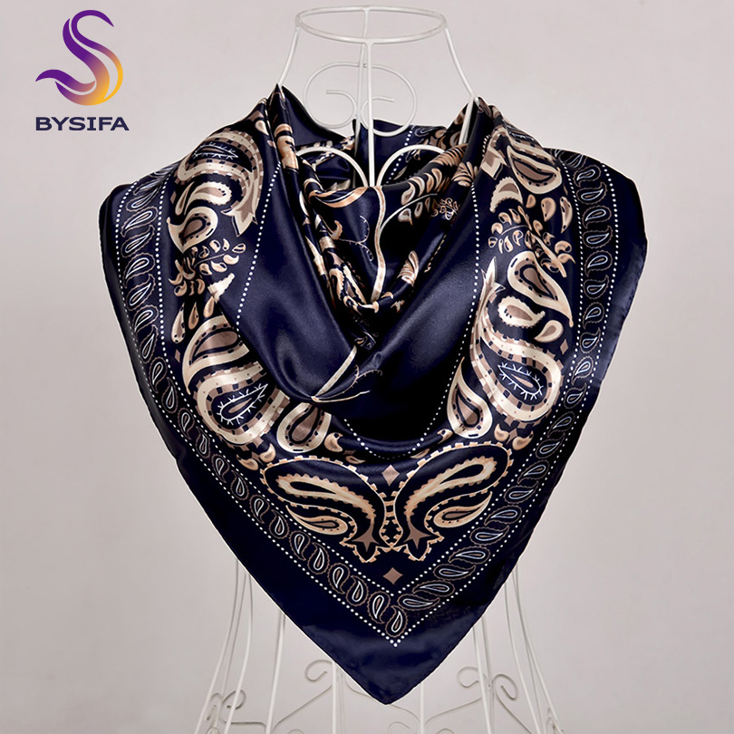 [BYSIFA] Hijab Scarf New Black Women Silk Square Scarf Shawl Luxury Brand Winter Scarves Kerchief Spring Female Fall Head Scarfs