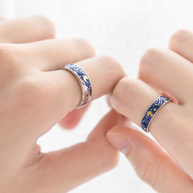 Stars & Moon Silver Couple Rings 5