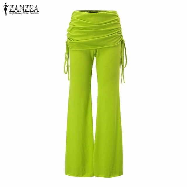 Women Long Flared Wide Leg Pants 2017 Summer Ladies Casual Loose Trousers Layers Fashion Solid Culottes Plus Size