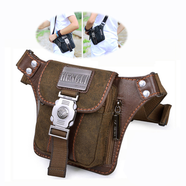 Brand designer canvas travel sports waist belt pack Tactical Hengli men small messenger shoulder bags - Take your home!---Lily store
