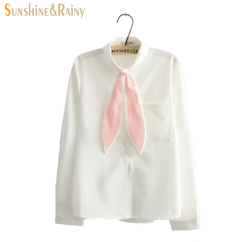 2016 Summer Japanese women Long rabbit ear bow tie stand collar shirt short sleeved white blouse