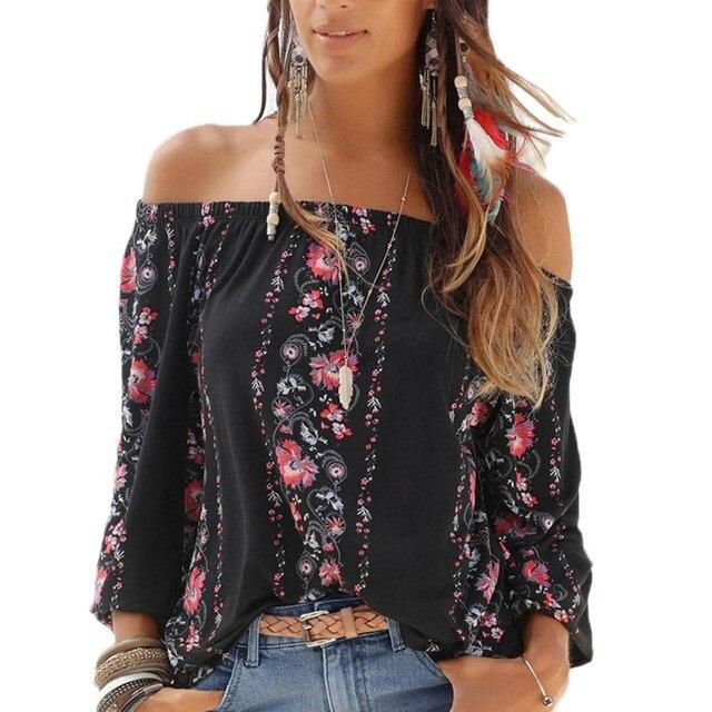 282a6d76a0f22 Autumn Fashion Long Sleeve Shirts Boho Style Black White Floral Print Top  Plus Size Elastic Off Shoulder Tops Blouse For Women