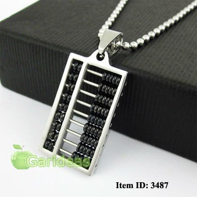 Free shipping +Wholesale Stainless Steel Black& Silver Abacus Ball Chain Pendant Necklace Cool Gift New Item ID:3487