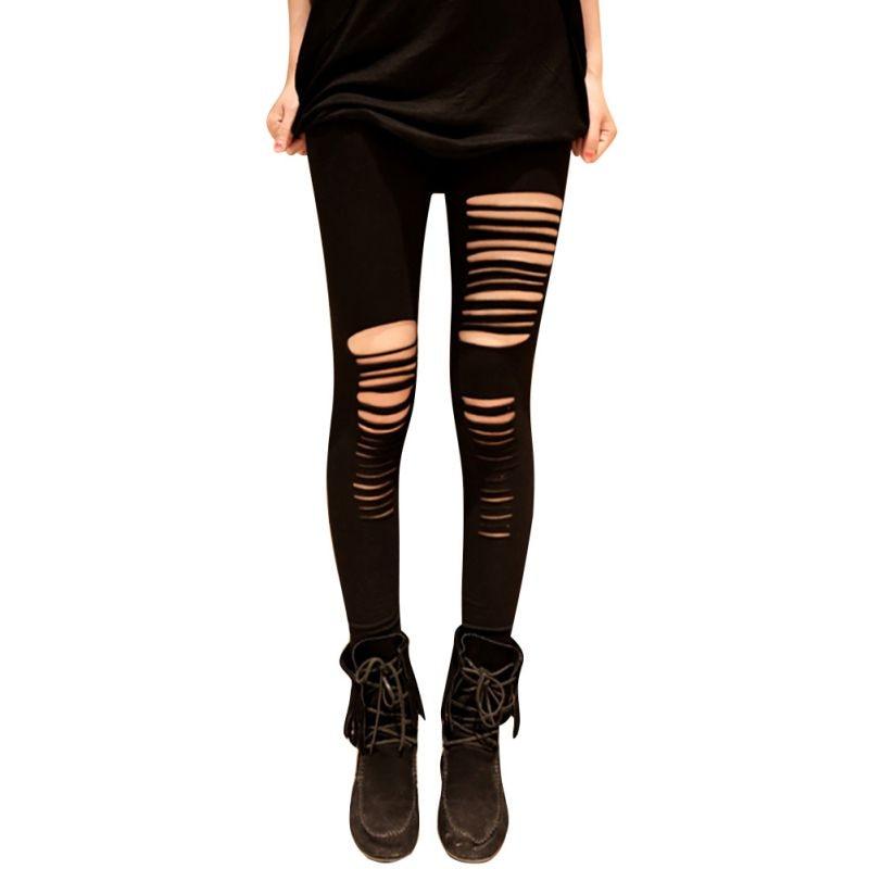 Popular Black Ripped Leggings-Buy Cheap Black Ripped Leggings lots ...