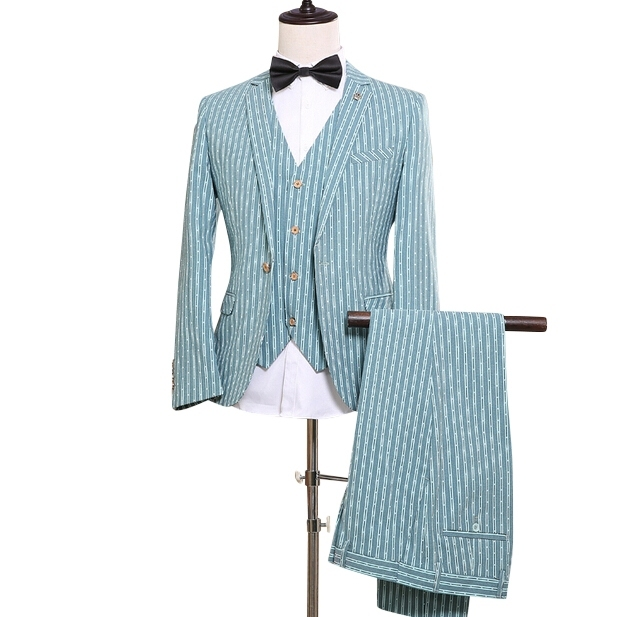 (Coat+Pants+Vest) Green Suit Vest Striped Men Suits NA11 Terns De Novia Tuxedo Green Wedding Suits Formal Smoking For Men Jeune