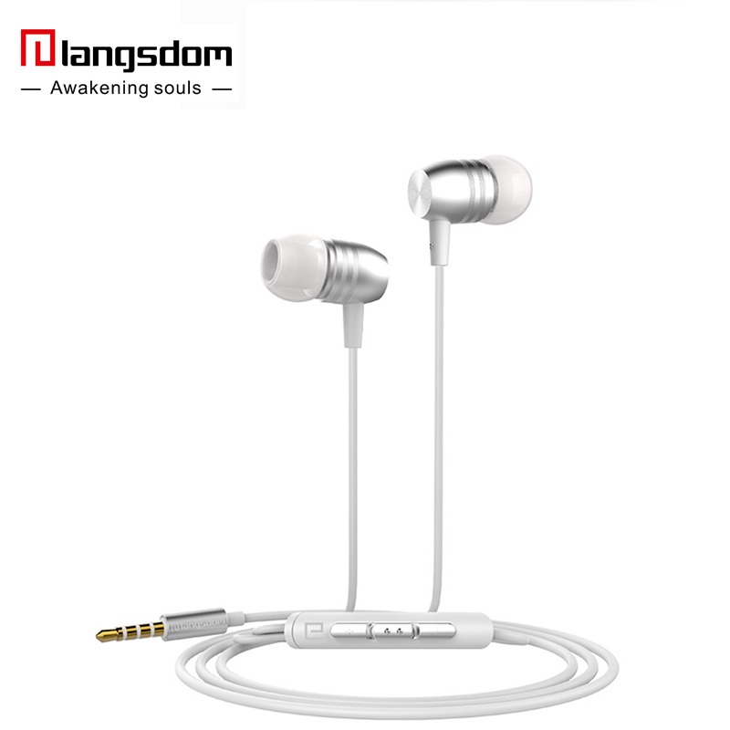 Langsdom E8 Metal Earphone In Ear Stereo Headset with Mic Music Heavy Bass High Quality Earbud For MP3 Microphone Computer vention vae t03 earphone 3 5mm in ear bass stereo earbud with remote mic for samsung mp3 player