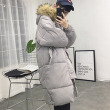 In the long winter warm hooded fur feather padded coat jacket Mens Long bread suit Korean