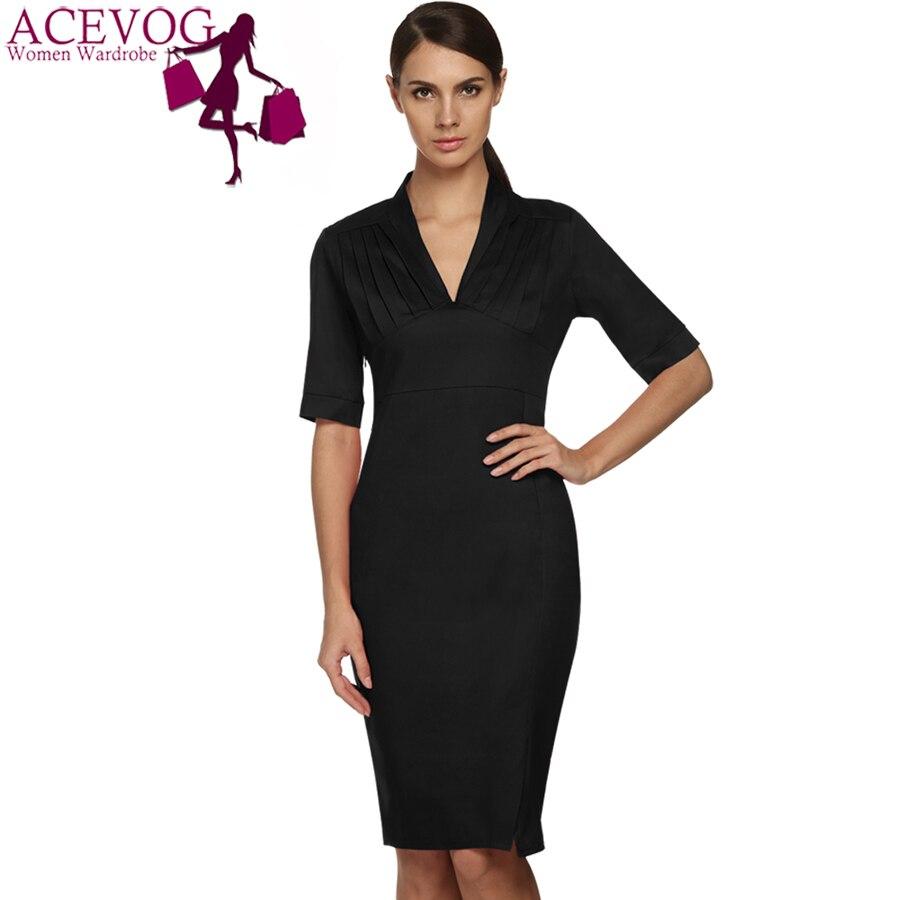 ac622fc25b232 ACEVOG Brand Women Bandage Pencil Dress Ladies Fashion Half Sleeve Midi  Knee Length Wear To Work Elegant Office Dresses Summer