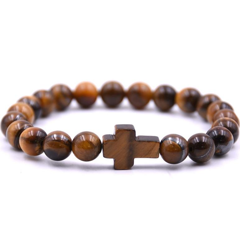 Diezi Yoga Mannen 8mm Natuurlijke Tijger Ogen Kralen Boeddha Yoga Armband Cross Charm Strand Armband Voor Vrouwen Fashion 2018 Nieuwe