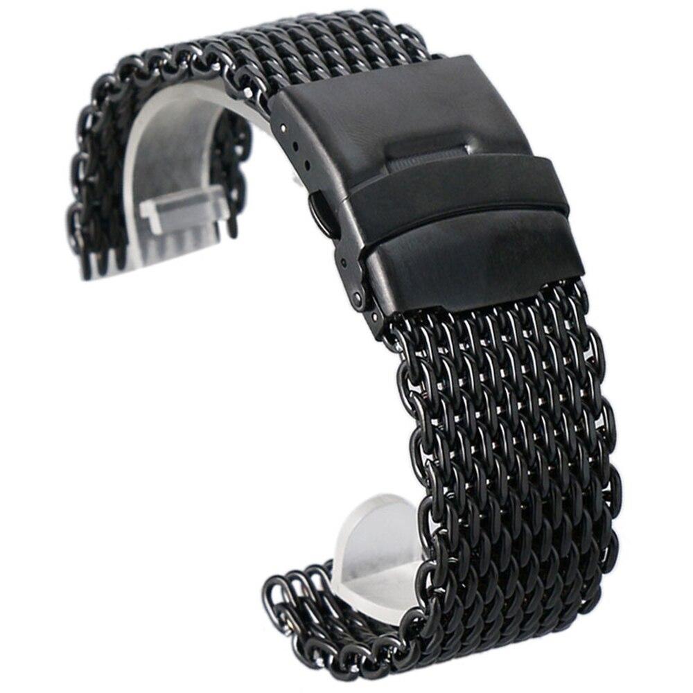 24 22 20 18mm mm mm mm Preto de Malha de Aço Inoxidável Banda Relógio de Pulso Moda Masculina Relógios De Quartzo Cinta alta Quarlity