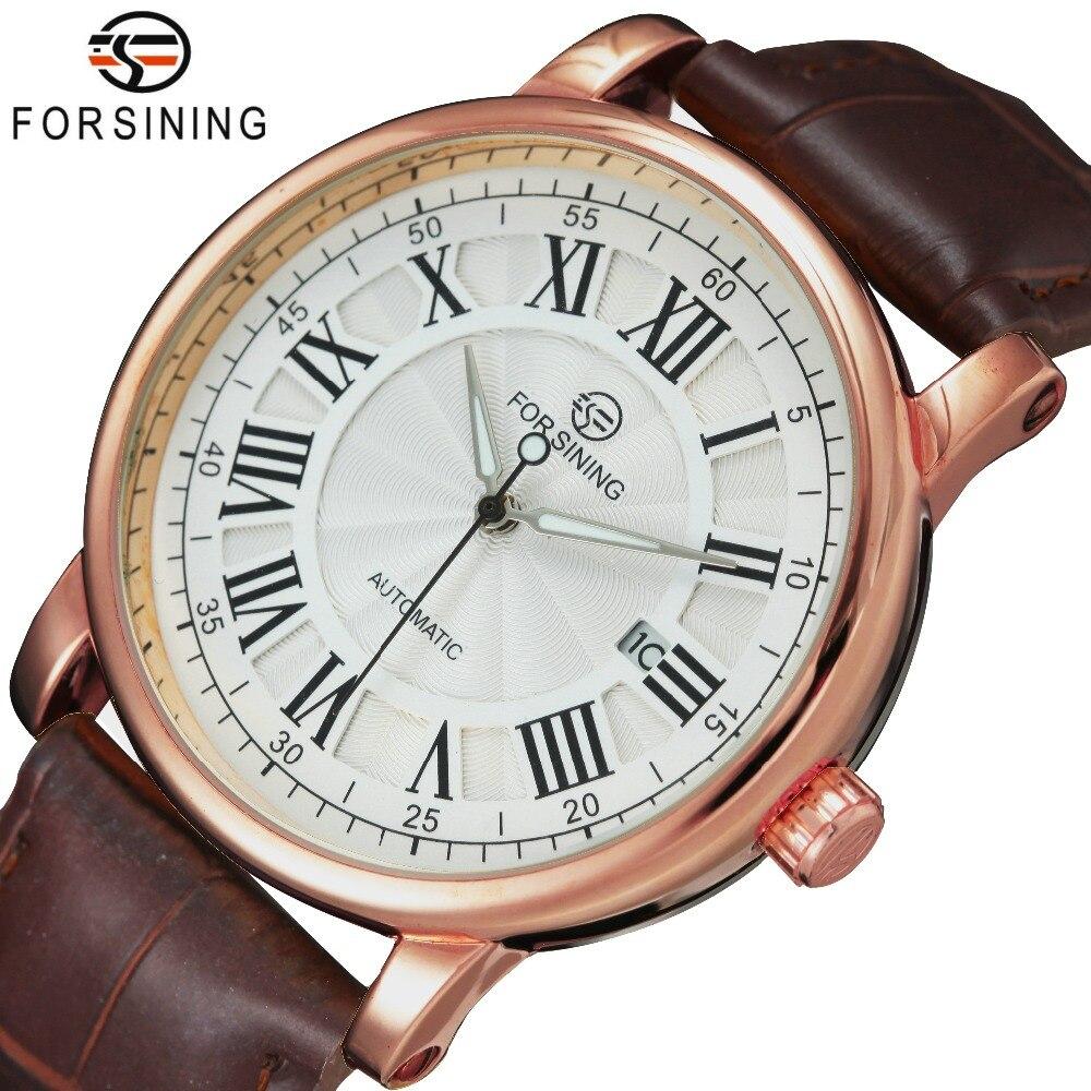 WINNER Luxury Men Automatic Watch Retro Mechanical Man Wristwatch Black Leather Band Luminous Hands Waterproof Calendar Day