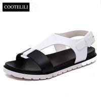 COOTELILI 35 39 Fashion Buckle Strap Beach Sandals Women Summer Flat Shoes Female Black White Casual