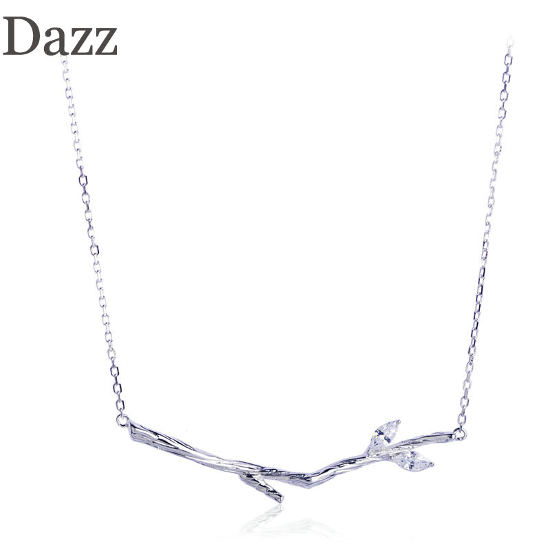 Dazz 925 Silver Tree Branch Shape Pendant Necklace Shining Cubic Zircon Accessories For Women Girl Birthday Party Gift Jewelry