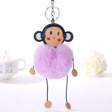 цена Newest Fur PomPom Keychain Monkey Key Chain Pompom Fur Key Holder Cover Women Bag Charm Pendant Accessorie Christmas Gift онлайн в 2017 году