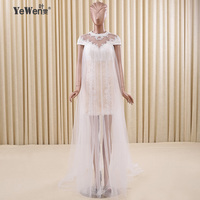 Yewen Lace Backless Beading Short Sleeve Knee Length High Neck Halter Beach Wedding Dresses Bridal Gowns