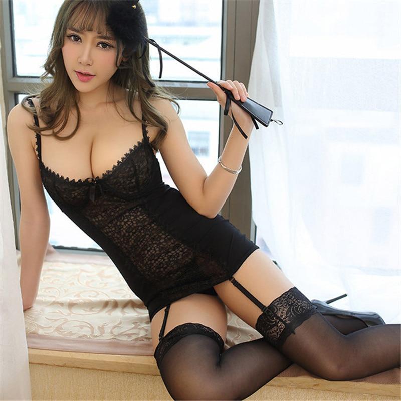 Sexy Lingerie Hot Black Lace Nighty Dress  Garter Belt -1804