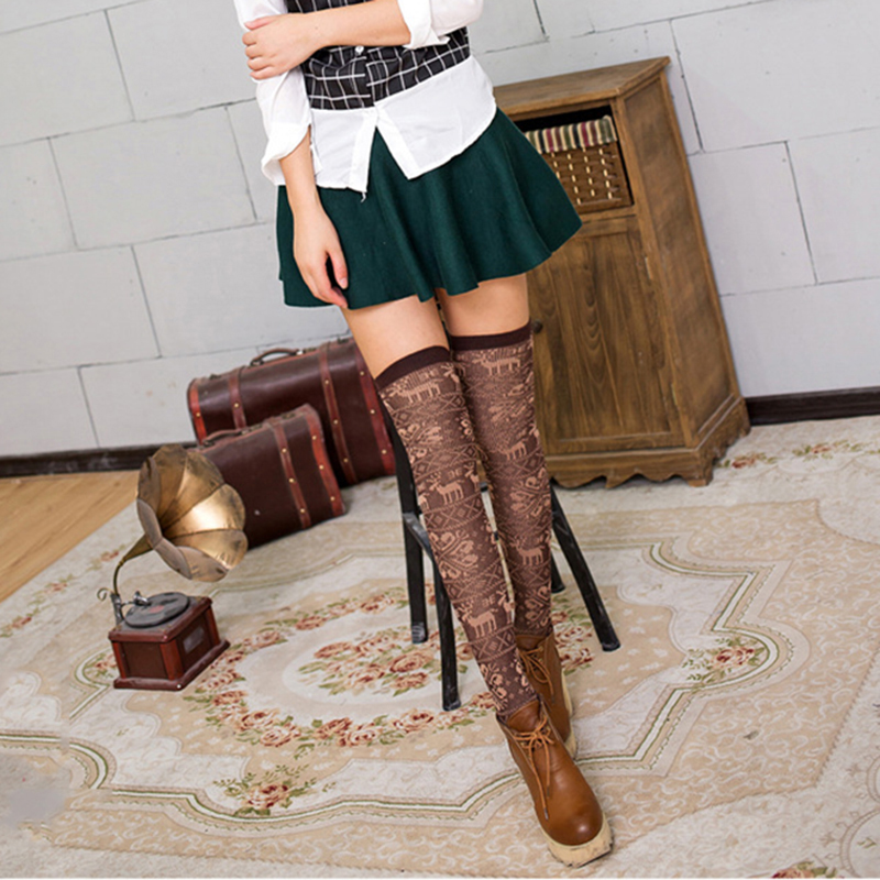 Women Cotton Long Socks Over Knee High Sexy Stockings Deer Pattern Suit Women Running Cycling Fitness Outdoor Wear Stockings