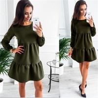 Womens Dresses New Arrival 2017 Long Sleeve Autumn Dress Long Sleeve Loose Casual Mini Dress Plus