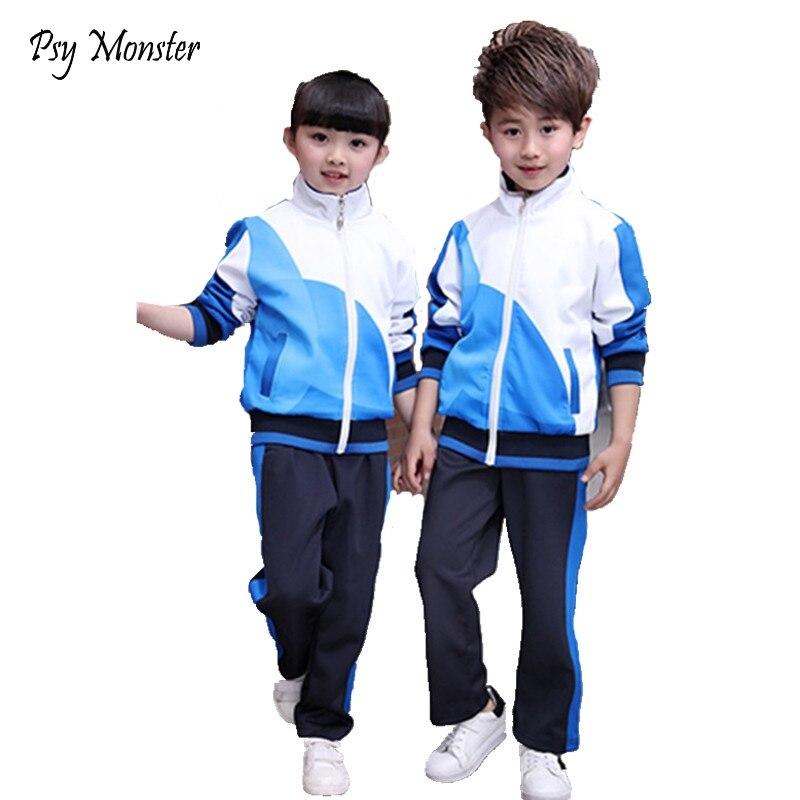 בני בנות בית ספר אחיד מעילי מעיל רוח מעיל + מכנסיים ילדי ספורט חליפת מעיל ילדים בגדי אימוניות 3-12 t A53