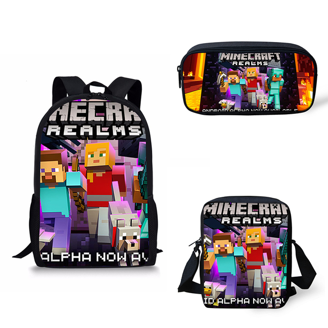 516959e7be 3 pcs set Minecraft Backpack School Bags For Girls Teenagers School Bag for  Kids Boy Children Orthopedic Primary Pencil bag Kpop-in School Bags from ...