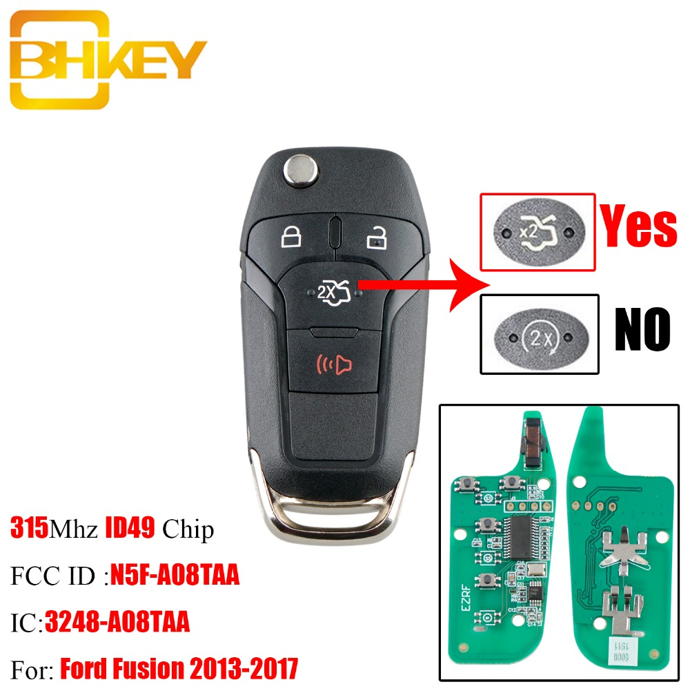 BHKEY 4Buttons Smart Remote <font><b>Key</b></font> Keyless Fob For <font><b>Ford</b></font> N5F-AO8TAA 315Mhz ID49 Chip For <font><b>Ford</b></font> <font><b>Fusion</b></font> 2013 2014 <font><b>2015</b></font> 2016 2017 <font><b>keys</b></font> image