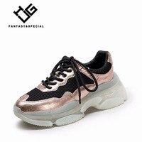 IGU Plateforme кроссовки женские 2019 розовое золото натуральная кожа Высокая платформа Вулканизированная обувь кроссовки для бега Уличная обувь д