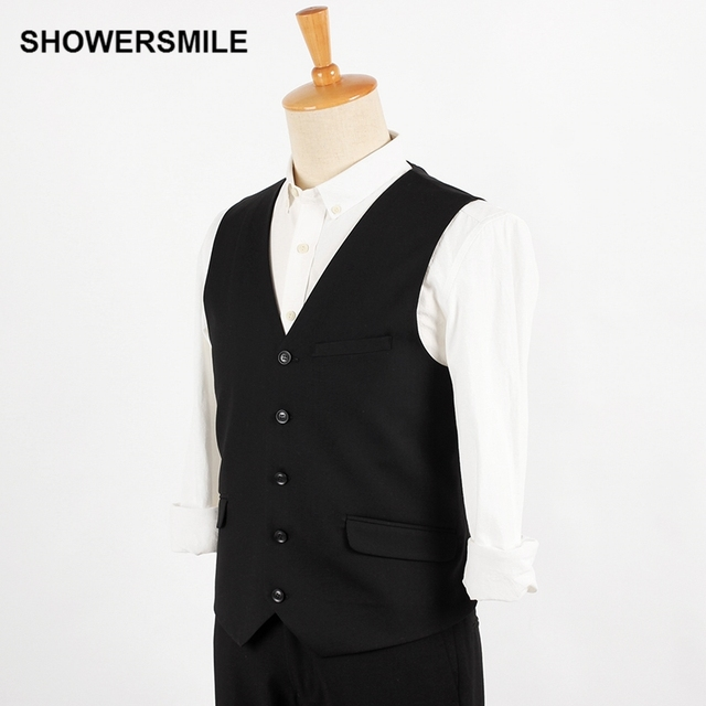 Mens Black Suit Vest Waistcoat Slim Fit British Style Classic Dress Vests Sleeveless Suit Blazer Spring Autumn Casual Clothing