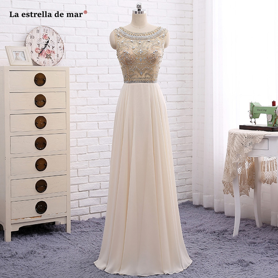 gala jurken 2019 new Scoop lace chiffon crystal Open back A Line champagne   prom     dresses   long vestido formatura high quality