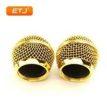 2 pçs microfone bola malha grille beta58 sm 58 microfone acessórios bola cabeça substituição acessório galvanoplastia cor do ouro