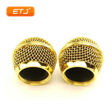 2pcs Microphone Ball Mesh Grille Beta58 SM 58 Microphone Accessories Ball Head Replacement Accessory Electroplating Gold Color
