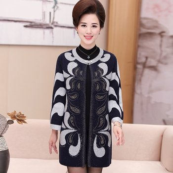 2020 Middle - aged mother fitted loose in the long paragraph sweater cardigan middle women s large coat