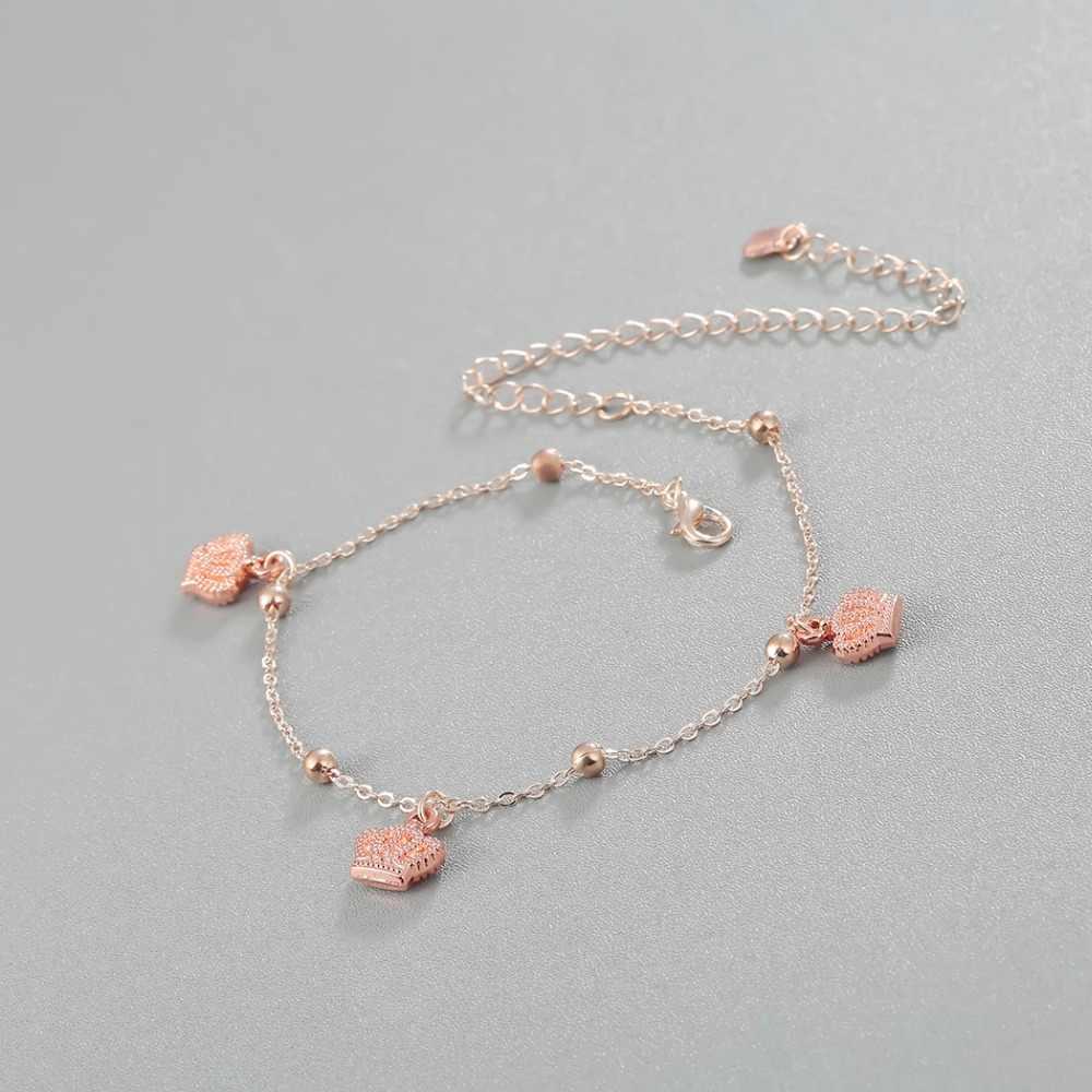 Новый колокол Корона браслеты с подвесками женские браслеты для щиколотки ботильоны браслет на ногу браслет из розового золота Подвеска для ног украшение для лодыжки