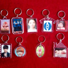 Acrylic Rectangle Insert Photo DIY Fashion Keychain Heart Picture Frame Keyring Women Men Round Blank Transparent Unisex 1PC(China)